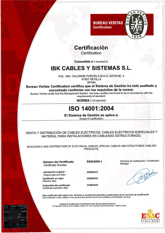 Certificado14001-ISO2008-IBK Cables.
