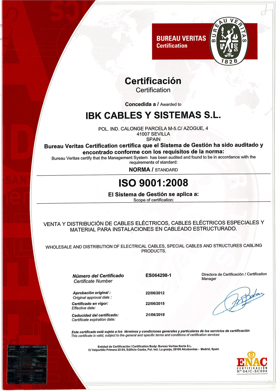 Certificado9001-ISO2008-IBK Cables.